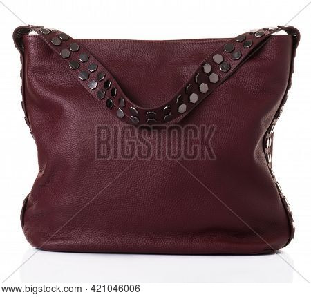 Burgundy Bag For Women With A Wide Shoulder Strap. The Model Is Made Of Genuine Leather. The Belt Is