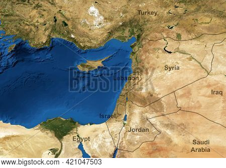 Middle East Map In Global Satellite Photo, Flat View Of Part Of World From Space. Detailed Map Of Sy