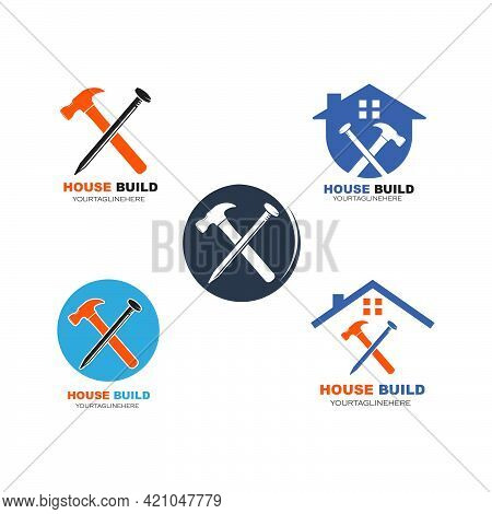 House Build And Renovation Logo Icon Vector Illustration