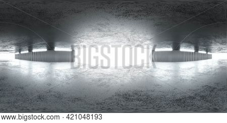 Full 360 Degreepanorama Of Concrete Industrial Hall Background With Bright Day Lighting Background 3