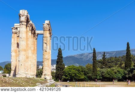 Athens - May 9, 2018: Olympian Zeus Temple In Athens, Greece. People Visit Tourist Attraction Of Ath