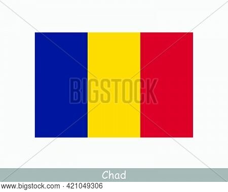 National Flag Of Chad. Chadian Country Flag. Republic Of Chad Detailed Banner. Eps Vector Illustrati