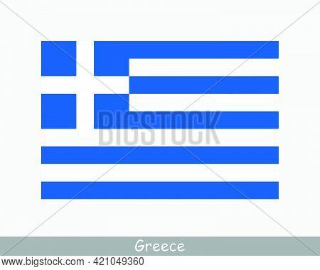 National Flag Of Greece. Greek Country Flag. Hellenic Republic Detailed Banner. Eps Vector Illustrat
