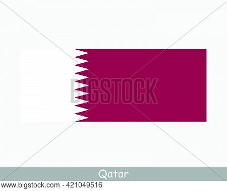 National Flag Of Qatar. Qatari Country Flag. State Of Qatar Detailed Banner. Eps Vector Illustration