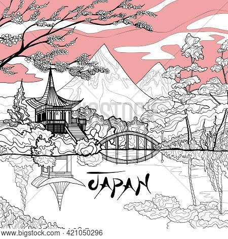 Japan Landscape Background With Sketch Pagoda Sakura Branch And Mountains On Background Vector Illus