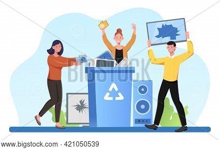 Male And Female Characters Holding Electronic Devices Near A Bin With Recycle Symbol. Concept Of Ele