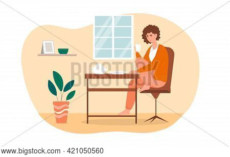 Female Character Is Sitting In The Kitchen And Drinking Tea Alone. Concept Of Daily Life And Everyda