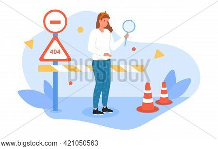 Female Character Looking At Traffic Cone With Magnifier As Road Safety Barrier. Concept Of Website U