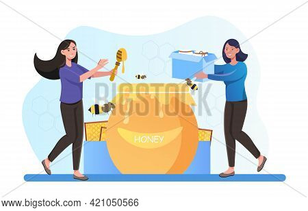 Two Smiling Female Characters Extracting And Eating Honey Together. Beekeeper Taking Honeycomb And P