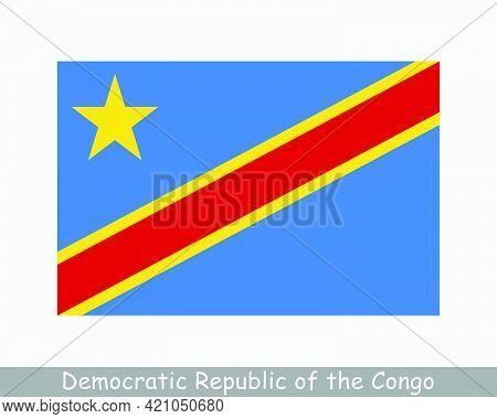 National Flag Of The Democratic Republic Of The Congo. Drc Congo-kinshasa Country Flag Detailed Bann