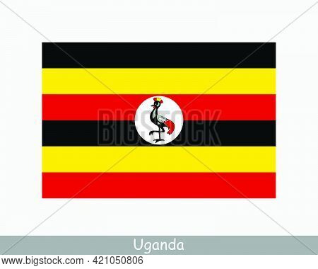 National Flag Of Uganda. Ugandan Country Flag. Republic Of Uganda Detailed Banner. Eps Vector Illust