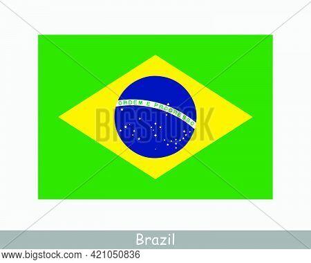 National Flag Of Brazil. Brazilian Country Flag. Federative Republic Of Brazil Detailed Banner. Eps