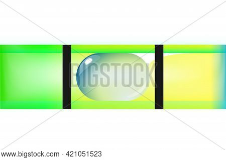 Green Bubble Level, Tool Isolated On White Background. Macro Top View, Construction Instrument. Spir