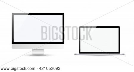 Devices In Realistic Trendy Design On White Background. Set Of Computer And Laptop With Empty Screen