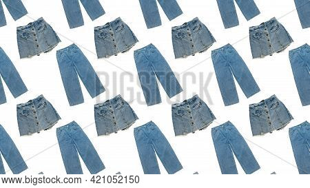 Seamless Pattern Of Denim Trousers And Skirts Isolated On A White Background. Summer Denim Clothing.