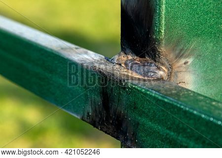 Close-up Of Freshly Welded Metal. Welding Seams