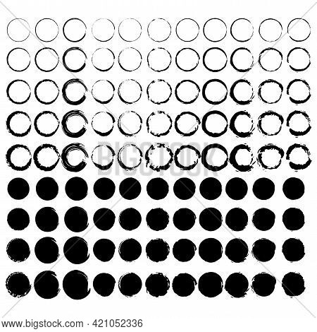 Watercolor Set With Brush Circles. Stamp Texture. White Background. Grunge Design Elements. Vector I
