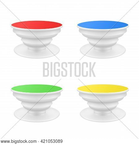 Collection Of Plastic Popsocket For Phone Realistic Vector Illustration Cellphone Pop Socket