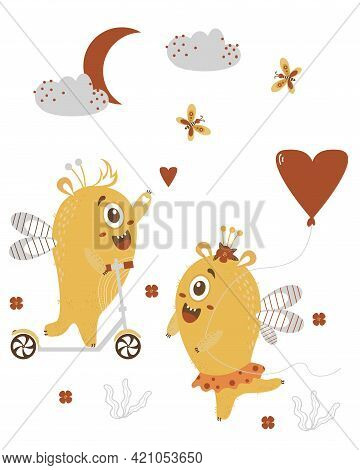 A Pair Of Cute Yellow Monsters. Fantastic Characters With Wings - Monster Girl With A Balloon And A