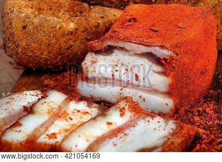 Lard In Red Pepper. Lard In Hungarian