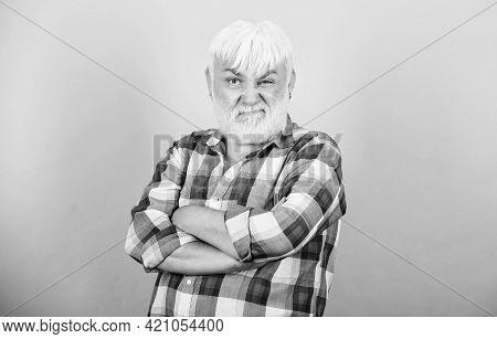 Typical Grandpa. Emotional Mature Hipster. Sincere Grandparent. Beard And Facial Hair Care. Barbersh