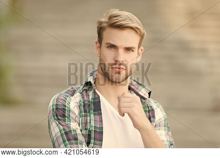 Portrait Good Looking Man Casual Style, Menswear Concept