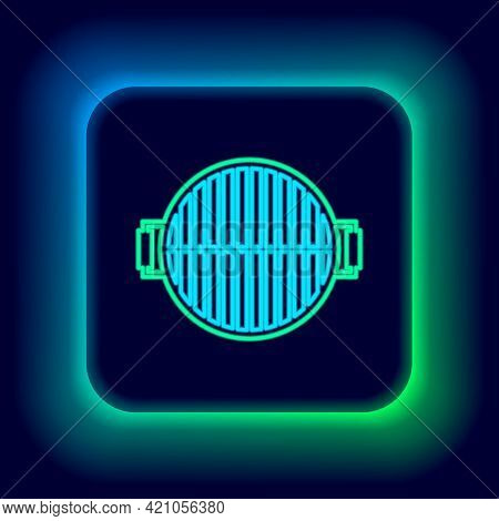 Glowing Neon Line Barbecue Grill Icon Isolated On Black Background. Top View Of Bbq Grill. Steel Gri