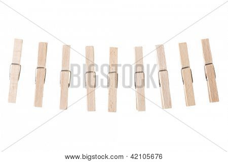 Wooden clothespin isolated on white