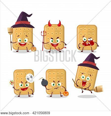 Halloween Expression Emoticons With Cartoon Character Of Biscuit