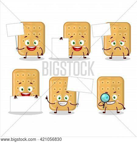 Biscuit Cartoon Character In Bring Information Board