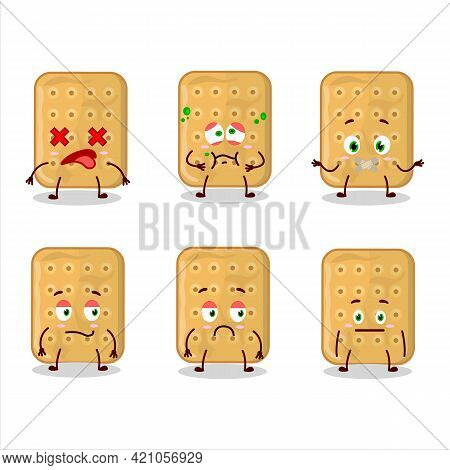 Biscuit Cartoon Character In With Nope Expression