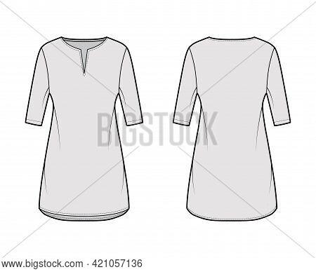 Dress Tunic Technical Fashion Illustration With Elbow Sleeves, Oversized Body, Mini Length Skirt, Sl