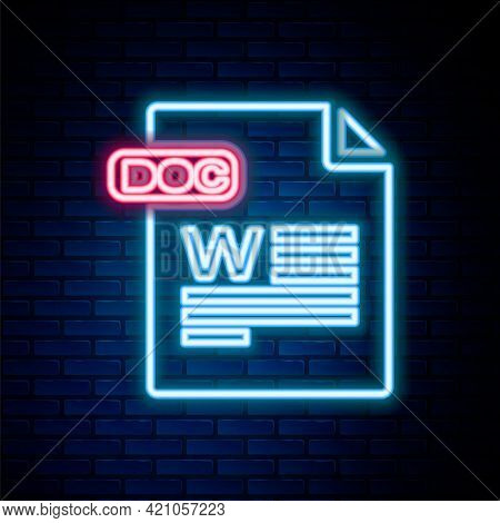 Glowing Neon Line Doc File Document. Download Doc Button Icon Isolated On Brick Wall Background. Doc