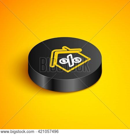 Isometric Line House With Percant Discount Tag Icon Isolated On Yellow Background. House Percentage