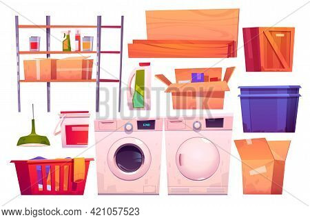 Laundry Room Equipment For Wash And Dry Clothes. Vector Cartoon Set Of Washing And Dryer Machine, Ba