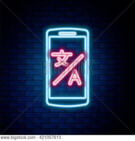 Glowing Neon Line Online Translator Icon Isolated On Brick Wall Background. Foreign Language Convers