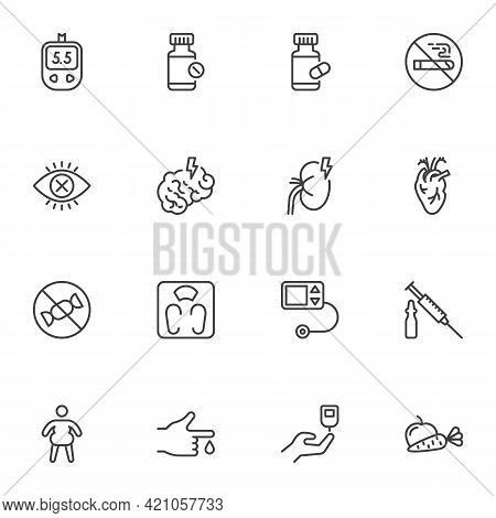 Diabetes Treatment Line Icons Set, Outline Vector Symbol Collection, Linear Style Pictogram Pack. Si