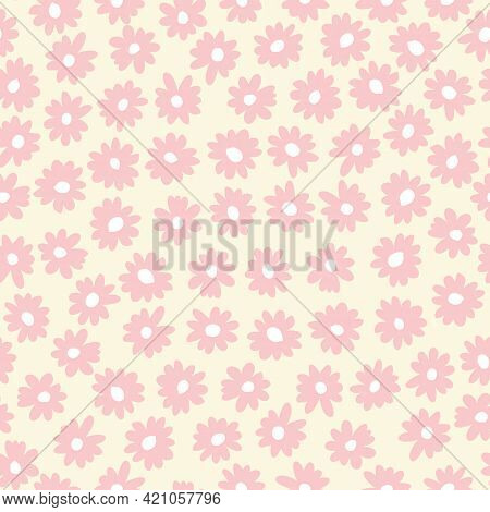Vintage Graphic Abstract Daisies Floral Vector Seamless Pattern. Simple Hand Drawn Pink Blooms On Cr