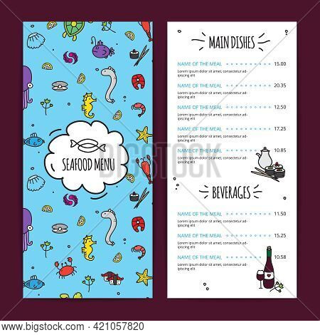 Seafood Menu Design Set With Main Dishes And Beverages Flat Isolated Vector Illustration