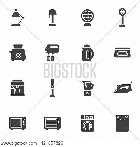 Household Devices Vector Icons Set, Modern Solid Symbol Collection, Filled Style Pictogram Pack. Sig