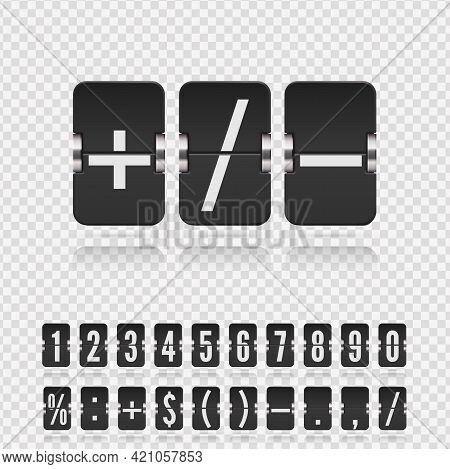 Vector Old Time Meter Of Numbers And Symbols. Retro Scoreboard Modern Ui. Analog Flip Airport Board