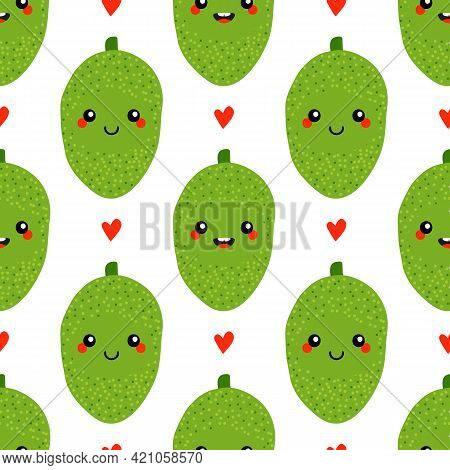 Cute Smiling Cartoon Style Jackfruit Characters And Hearts Vector Seamless Pattern Background.