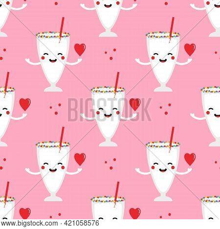 Cute Smiling Cartoon Style Vanilla Milkshake Glass Character Holding The Red Heart In Hand Vector Se