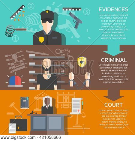 Justice And Court Horizontal Banners Set With Evidences And Criminal Flat Isolated Vector Illustrati