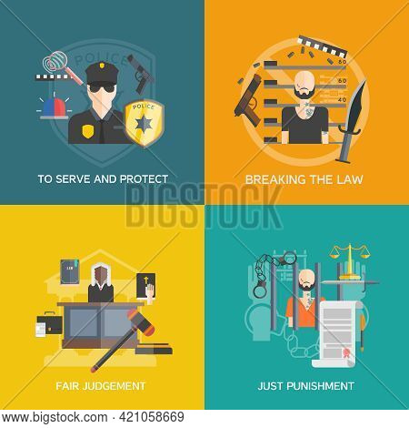 Fair Judgement And Just Punishment Icons Set With Breaking The Law And Police Flat Isolated Vector I