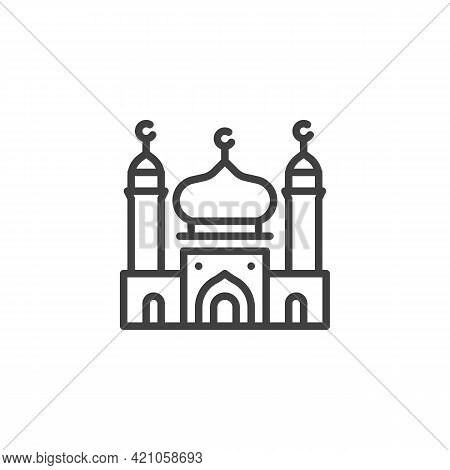 Mosque Building Line Icon. Linear Style Sign For Mobile Concept And Web Design. Islamic Mosque Outli