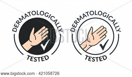 Dermatology Hand Tested Logo Icon. Antibacterial Hypoallergenic Clean Gel Test Label
