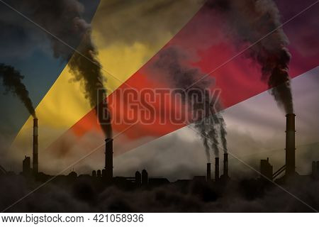 Dense Smoke Of Industry Chimneys On Seychelles Flag - Global Warming Concept, Background With Space