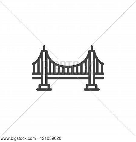 Bridge Line Icon. Linear Style Sign For Mobile Concept And Web Design. Bridge Outline Vector Icon. S