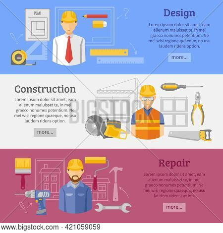 Buildings Design Construction And Reparation Carpentry Works Website Concept 3 Flat Horizontal Banne
